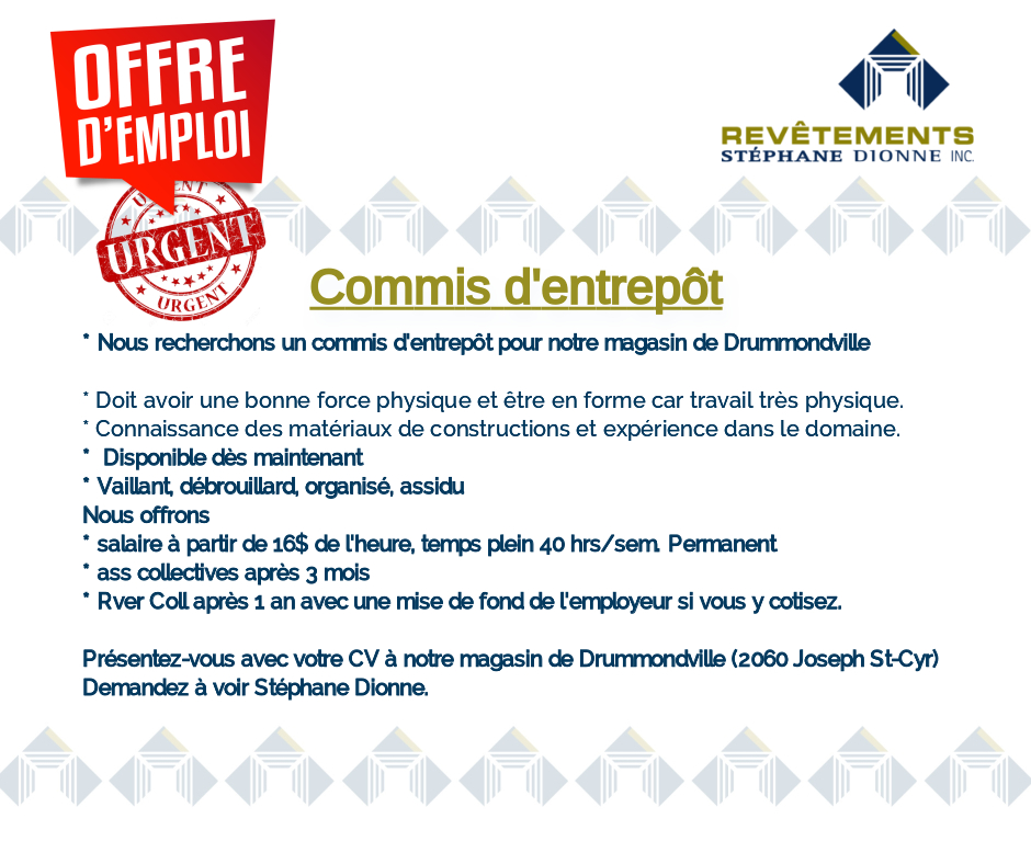 Commis dentrepot 14 05 2019