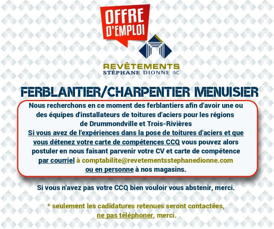 Offredemploi ferblantier18 03 2019