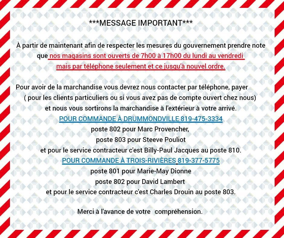 Message restriction ventes janvier 2021